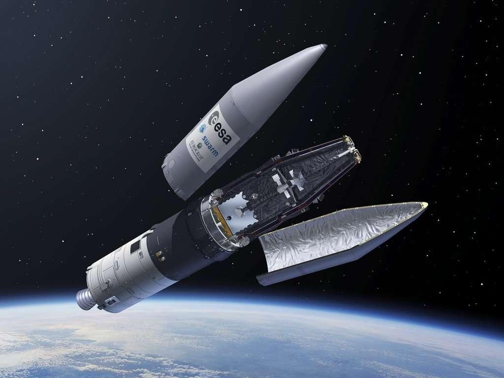 Pour désorbiter un satellite en fin de mission, des chercheurs travaillent sur un concept de câble électrodynamique qui pourrait les tirer dans l'atmosphère terrestre. © Esa, P. Carril