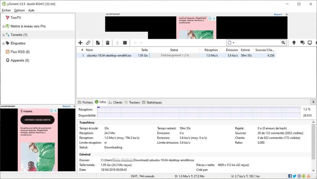 µTorrent offre exactement la même interface que son client frère : BitTorrent © BitTorrent Inc.
