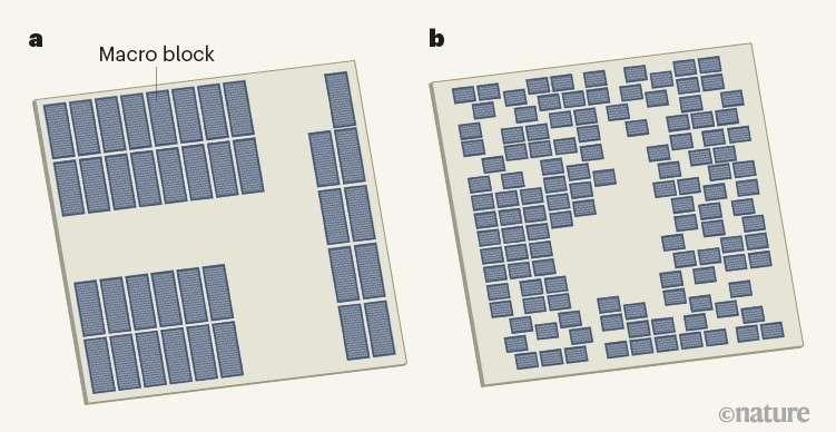À gauche, un plan de masse conçu par un humain. À droite, la version mise au point par l'intelligence artificielle. © Nature