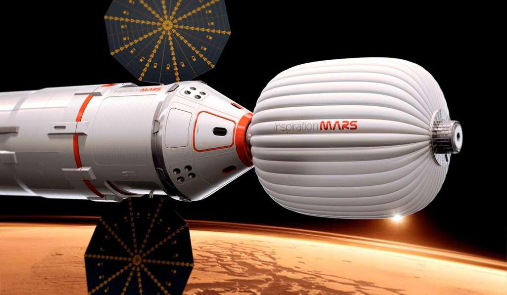 Pour envoyer des Hommes à destination de Mars, le véhicule de SpaceX pourrait ressembler à celui qu'envisageait d'utiliser Dennis Tito pour son projet martien. Il utilise plusieurs modules dont une version adaptée de la capsule Dragon. © Inspiration Mars Foundation