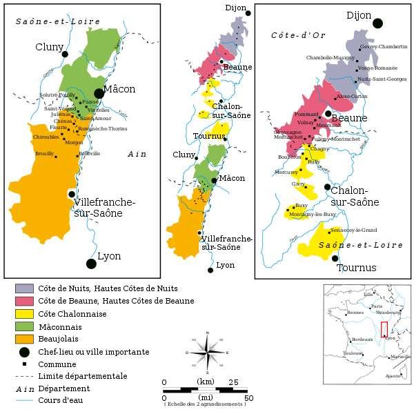 Les régions viticoles de Bourgogne (Chablis non inclus). Beaune, Châlon-sur-Saône et Dijon présentent des fameux vins de Bourgogne. © DalGobbom GNU 1.2