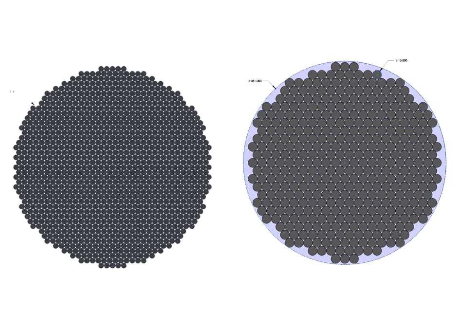 Un réseau de 1.112 paraboles de 9 mètres de diamètre dans un cercle d'environ 314 mètres de diamètre est illustré à gauche. Le nombre de paraboles pourrait être réduit en augmentant le diamètre des paraboles, comme le montre la figure de droite, avec un réseau de 400 paraboles de 15 mètres de diamètre dans un cercle de 331 mètres de diamètre. Dans les deux cas, le réseau fournira une surface de collecte équivalente à une parabole de 300 mètres de diamètre. La structure est cependant moins compacte lorsque le diamètre des paraboles augmente. Des paraboles de forme hexagonale pourraient être envisagées au cours de l'étude technique pour déterminer si une zone de collecte plus élevée peut être obtenue avec moins de paraboles. © D. Anish Roshi et al. (2021)