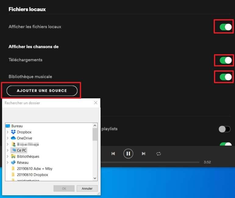 Spotify peut lire les fichiers audio stockés dans votre ordinateur. © Spotify AB