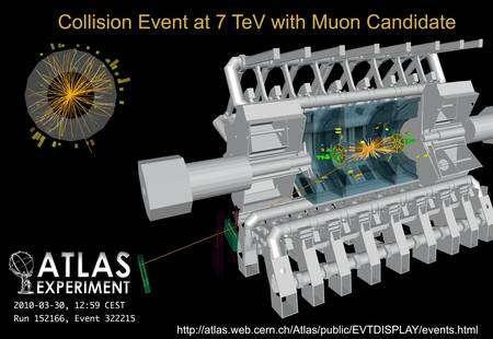Cliquer pour agrandir. Les ordinateurs permettent de reconstituer les feux d'artifice des trajectoires des particules produites par les collisions dans les entrailles du détecteur géant Atlas, le 30 mars 2010. Crédits : Claudia Marcelloni-Cern.