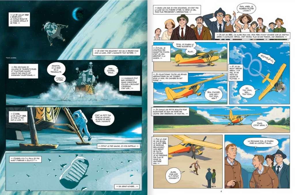 58 planches de dessins racontent l'épopée lunaire de Neil Armstrong et ses coéquipiers. © Éditions Faton