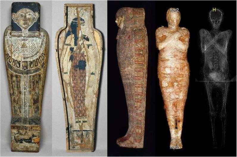 Cercueil décoré et momie de l'ensemble 236805/3. © Muzeum Narodowe w Warszawie, micro-tomographie et rayons X par le Warsaw Mummy Project.