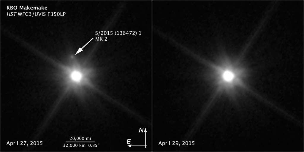 Sur l'image de gauche, prise par Hubble, apparaît Makémaké, environ 1.300 fois plus brillante que sa lune MK2 récemment découverte. Sur l'image de droite, prise deux jours plus tard, la lune a bougé et n'est plus visible. © Nasa, Esa, Z. Levay (STScI)