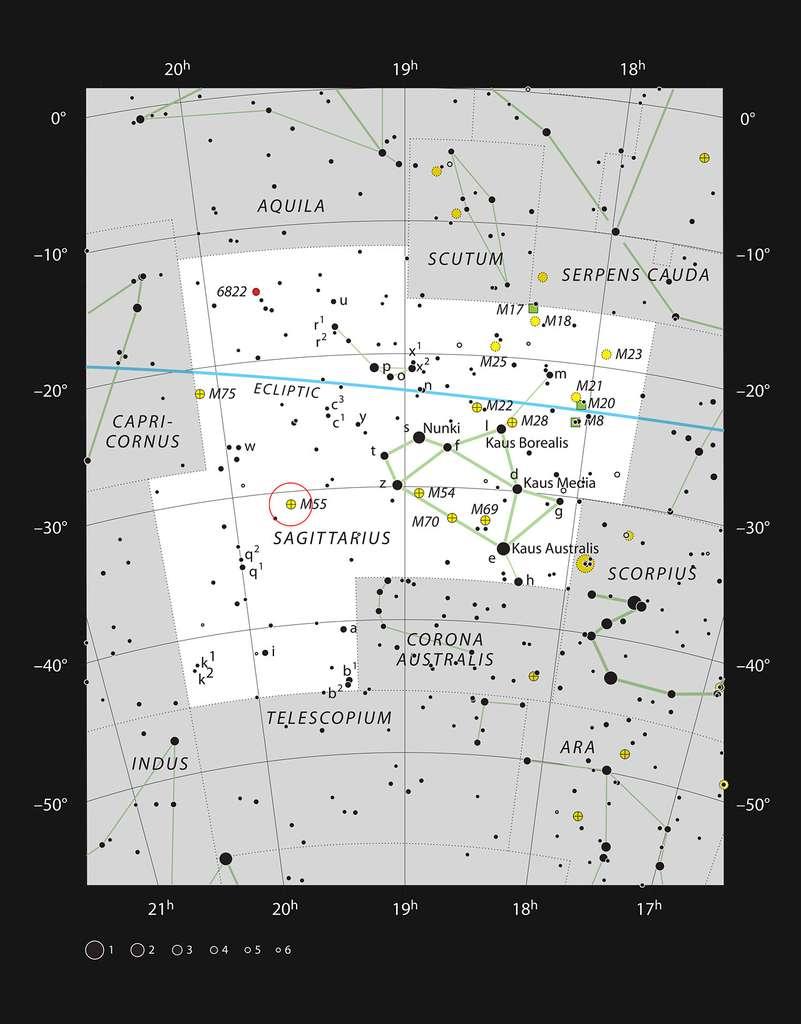 Messier 55 se trouve dans la constellation du Sagittaire. Cet amas d'étoiles peut être facilement observé avec un très petit télescope ou avec des jumelles. © ESO/IAU/Sky & Telescope