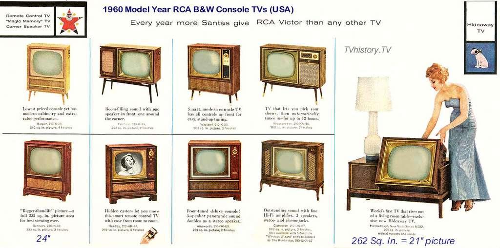 Téléviseurs des années 1960, témoins de l'histoire de la télévision. © DR