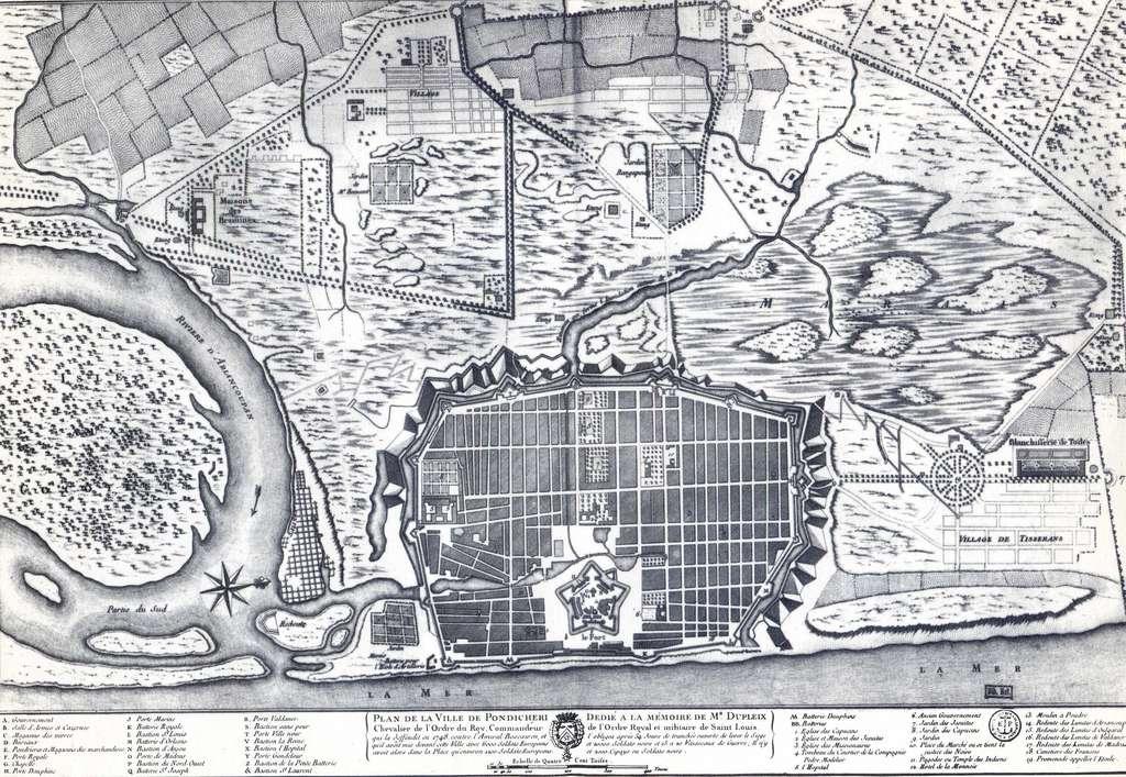 Plan de Pondichéry dédié à la mémoire de Dupleix, fin XVIIIe siècle. Iconographie Bibliothèque nationale de France. © BnF, DP