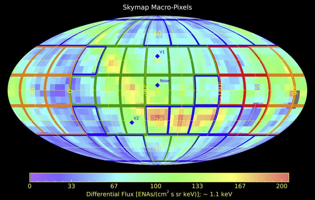 Le ciel a été divisé en 56 « macropixels » où la couleur représente le degré de confiance dans les distances de l'héliosphère. © Daniel Reisenfeld et al., Astrophysical Journal, 2021
