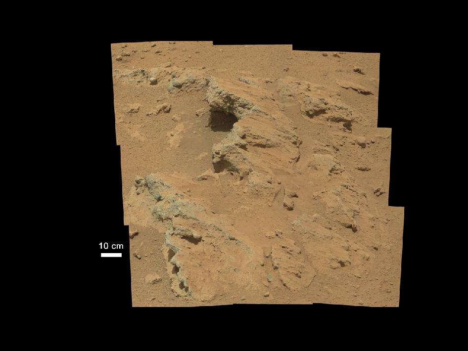 L'affleurement qui a mis la puce à l'oreille des scientifiques de la mission MSL (Mars Science Laboratory). © Nasa/JPL-Caltech/MSSS