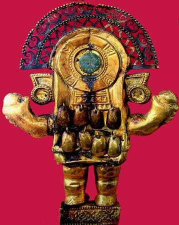 Couteau en or de culture Chimu, Peru, dos