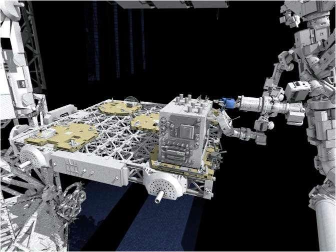 Vue artistique qui montre Dextre (à droite) effectuant l'expérience de ravitaillement automatisé sur le module RRM (au centre, qui simule l'accès au réservoir d'un satellite), monté sur le conteneur logistique ELC4. © Nasa