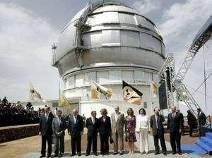 L'inauguration du Gran Tecan a eu lieu le 24 juillet 2009 en présence du roi d'Espagne Juan Carlos, passionné d'astronomie, et de la reine Sofia. Crédit AFP / D. Martin