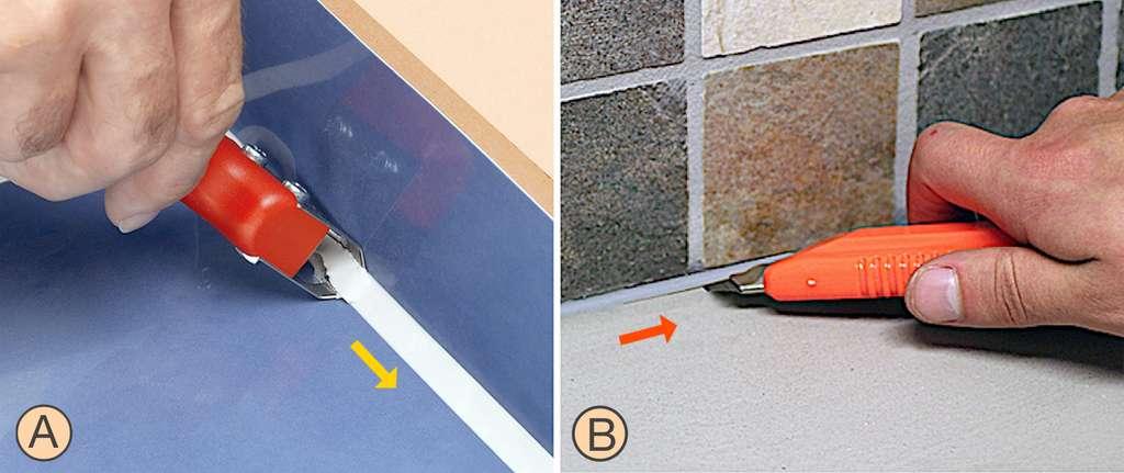 Le couteau à joint (A) détache le joint d'un coup en « poussant ». Le cutter (B) coupe en « tirant ». Il s'utilise en deux temps, par le dessus et par le dessous, pour enlever le joint. © Speed Cleaner (couteau à joint), HG (geste avec cutter)