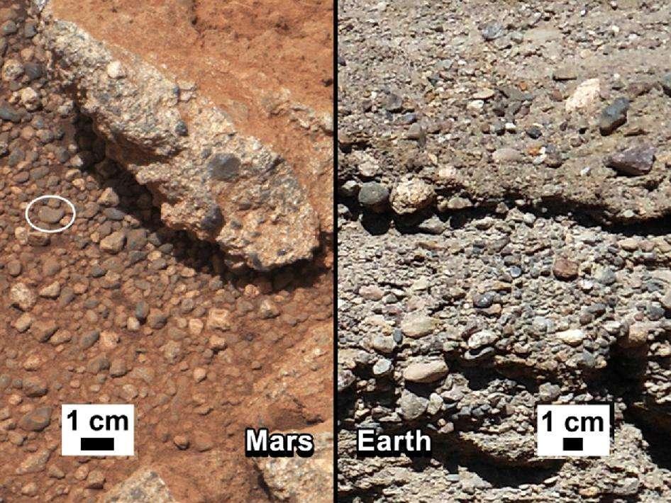 À gauche, vue du sol de Mars où les cailloux d'un ancien lit de rivière sont arrondis. À droite, un ancien lit de rivière sur Terre. Quand la rivière s'est asséchée, les galets se sont retrouvés noyés dans un ciment de matériaux sédimentaires. © Nasa/JPL-Caltech