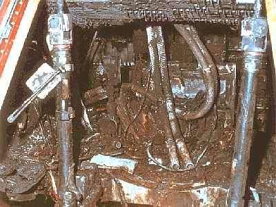 L'intérieur de la capsule ravagée par les flammes. NASA.