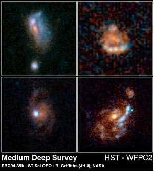 Figure 10 : Des galaxies spirales photographiées par le télescope spatial Hubble se trouvent entre 5 et 7 milliards d'années-lumière de nous. Elles sont beaucoup moins régulières que les galaxies spirales de l'univers local.
