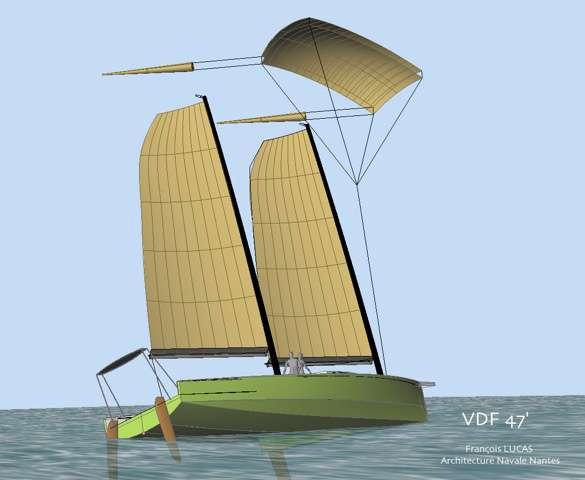 Le « Voilier du futur », actuellement en projet, avec une voile de traction autostable. Ses matériaux sont plus facilement recyclables que les résines en polyester. Les déchets sont traités à bord et le bateau permet même de récolter des données océanographiques. © François Lucas, architecte naval