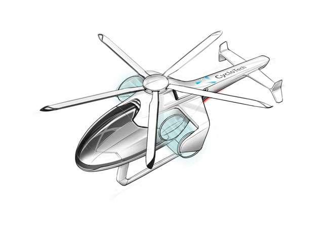 CycloTech a breveté ce concept d'hélicoptère sans rotor de queue qui utilise deux Cyclogyro pour générer la portance et réduire le diamètre du rotor principal. © CycloTech