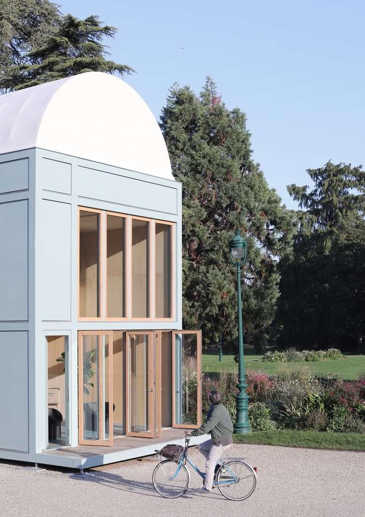 Le prototype du proto-habitat dans un jardin public de Bordeaux, en 2020. © Flavien Menu et Frédérique Barchelard, Wald.city