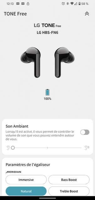 L'application LG Tone Free pour Android et iOS offre de nombreux réglages et fonctionnalités. © Marc Zaffagni