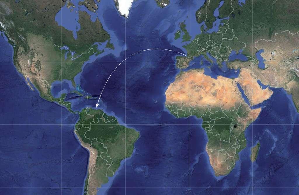Le thon blanc portant une balise Azti-Tecnalia a été pêché dans les eaux vénézueliennes. Il avait été marqué au large de Gipuzkoan dans le Pays basque en octobre 2006. C'est la première fois que l'on enregistre une telle distance de parcours d'un thon. © Azti-Tecnalia