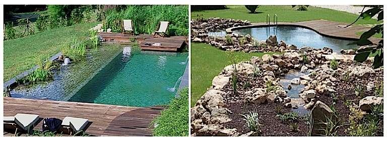À gauche : plan d'eau unique avec muret immergé entre la zone végétalisée et le bassin de baignade. © Bioteich À droite : zones séparées. © Patrick Lemaire Paysage