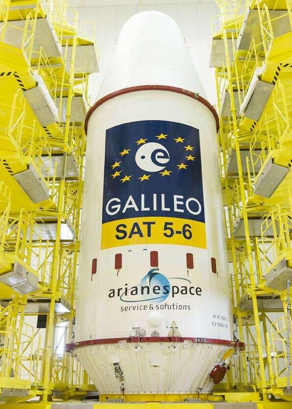 La coiffe du lanceur Soyouz avec à l'intérieur les deux satellites Galileo. © Esa, Cnes, Arianespace