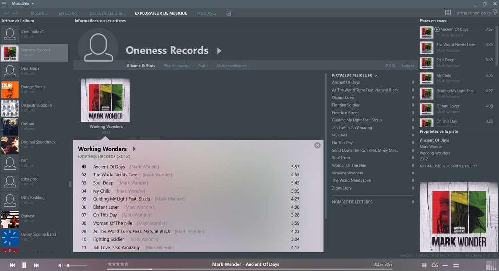 L'interface de MusicBee peut être totalement personnalisée et de nombreux habillages sont inclus ou téléchargeables © Steven Mayall