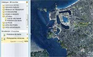 Saint-Malo à l'échelle 1/40.000, flanqué du logo Shom, indiquant que les horaires des marées sont disponibles pour ce port breton (cliquez pour agrandir). Capture d'écran sur Géoportail.