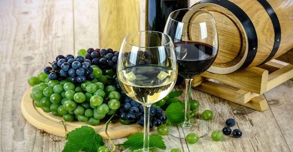 Comment bien faire vieillir un vin ? Ici, du vin blanc et du vin rouge. © WDnetStudio, Domaine public