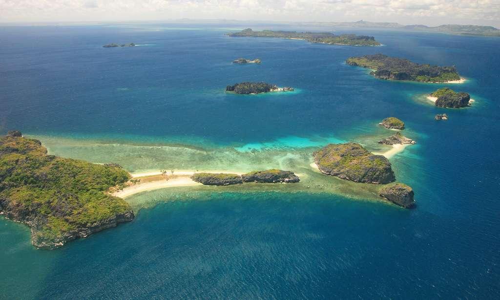 Vue aérienne de l'archipel des Mitsio, Madagascar
