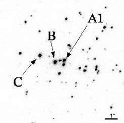 En A1, situation du couple binaire comportant l'étoile la plus massive jamais observée. En C, autre candidat évoqué dans l'article. Crédit HST / Université de Montréal.