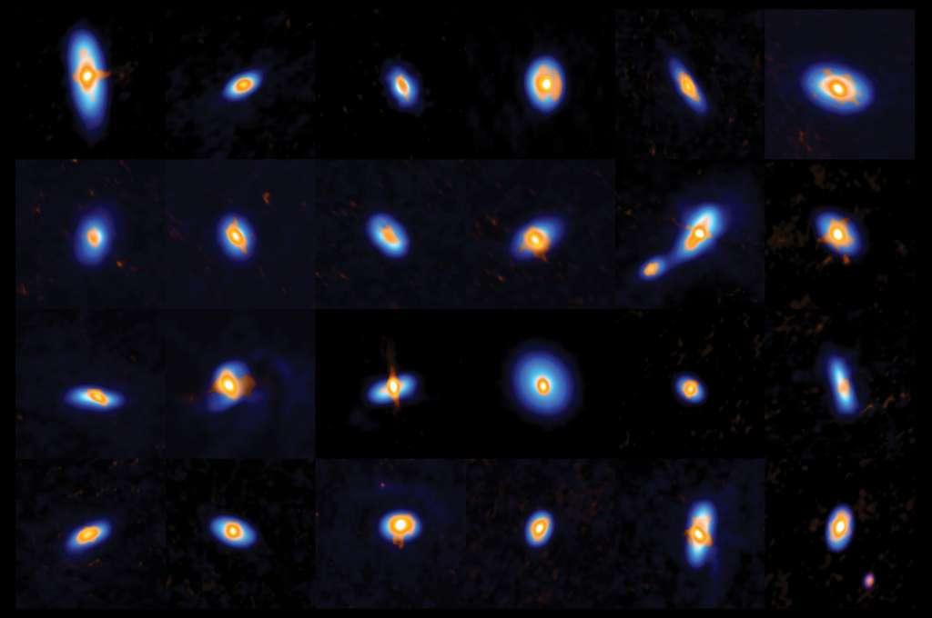 Alma et le VLA ont observé plus de 300 proto-étoiles et leurs jeunes disques protoplanétaires dans le complexe d'Orion. Cette image montre une fraction de ces étoiles, dont quelques étoiles binaires. Les données d'Alma et de VLA se complètent mutuellement : Alma voit la structure du disque externe (visualisée en bleu), et le VLA observe les parties internes des disques et les proto-étoiles (en orange). © Alma (ESO/NAOJ/NRAO), J. Tobin ; NRAO/AUI/NSF, S. Dagnello