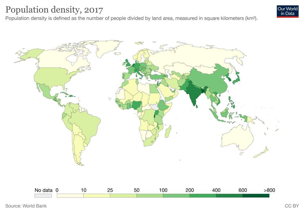Densité de population par pays. © Our World in Data