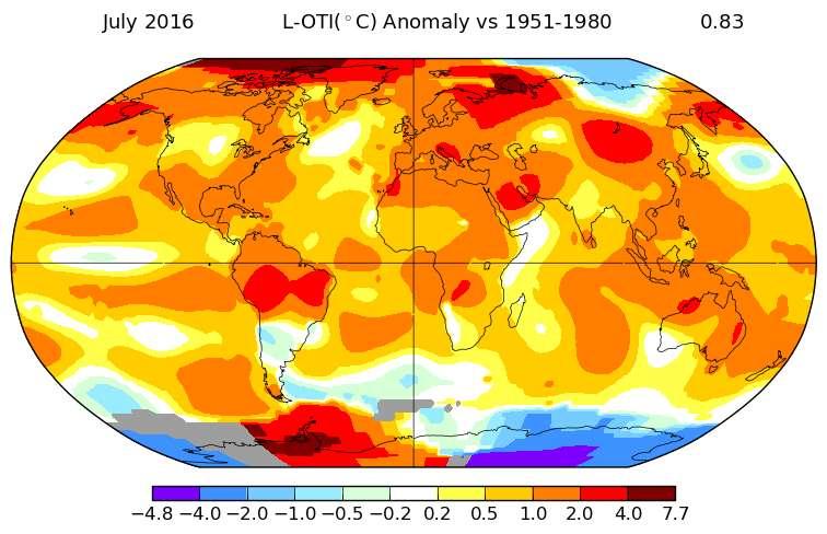 Carte des anomalies de température pour juillet 2016 relativement à la période de référence 1951-1980. En rouge foncé, l'écart est d'environ +7 °C. © Nasa