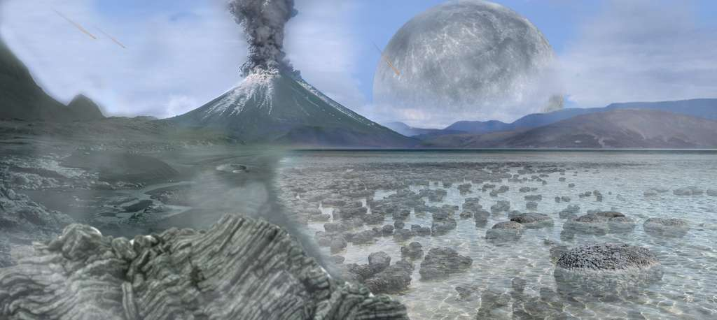 Une vision de la Terre primitive pendant l'Archéen. La Lune était plus proche, causant d'importantes marées qui pourraient avoir joué un rôle dans l'apparition de la vie. On voit d'ailleurs dans cette vue d'artiste une Terre probablement âgée de seulement un milliard d'années avec des stromatolithes produits par des formes de vie photosynthétiques. © Tim Bertelink, CC by-sa 4.0