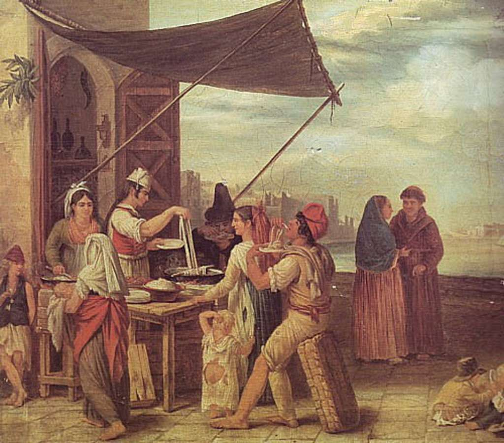 """Tableau """"Marché en Italie"""" (Italiens dégustant des pâtes), par Jean Mieg, XIXe siècle. Musée des Beaux-Arts de Mulhouse. © repro-tableaux.com."""