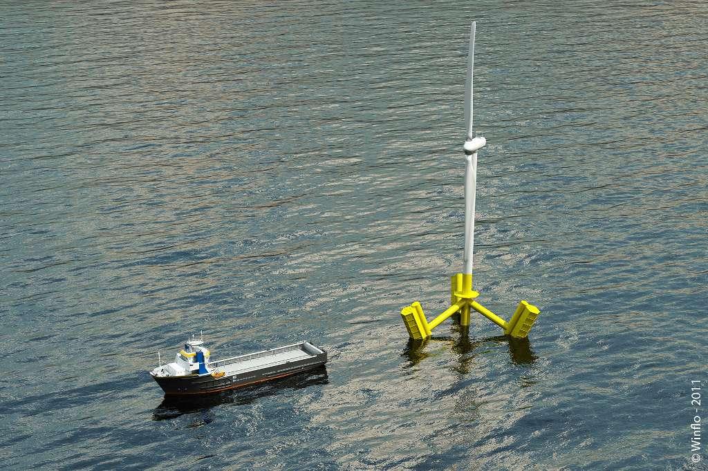 En cas de souci technique majeur, il pourrait être plus facile de ramener une éolienne Winflo dans un port, plutôt que d'envoyer des Hommes et du matériel la réparer sur place. © Winflo, 2011
