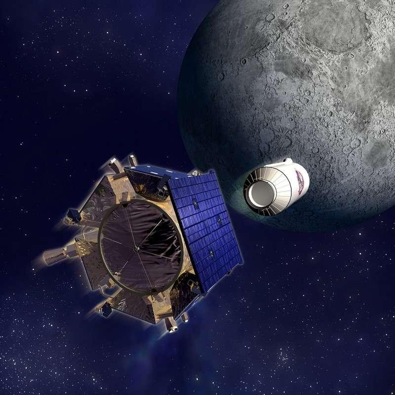 LCross, une mission américaine qui a propulsé un impacteur sur la Lune en 2009 pour y détecter la présence d'eau. © Nasa