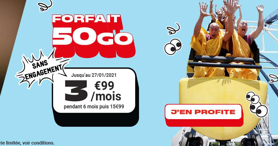 Forfait 50 Go à seulement 3,99 €/mois © NRJ Mobile