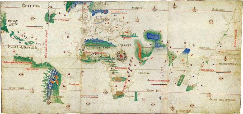 Planisphère portugais dit «de Cantino» daté de 1502 ; première visualisation des parties du monde connues par les Européens au début du XVIe siècle. Bibliothèque Estense de Modène (Italie) © Domaine public