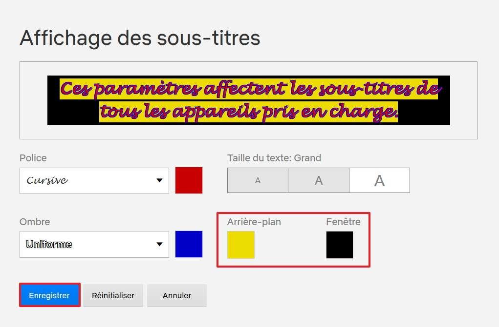 Changez les couleurs d'arrière-plan et de fenêtre si vous le voulez, puis enregistrez les changements. © Netflix