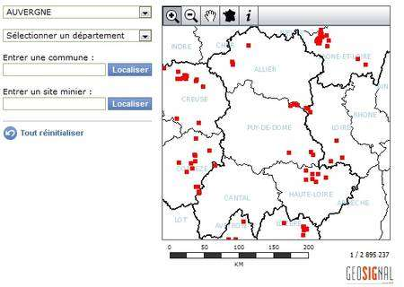 La carte interactive montre les anciennes mines d'uranium par commune, département ou région. © IRSN