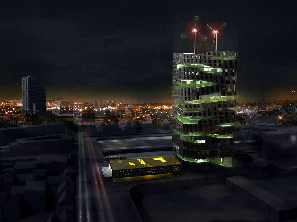 La Tour vivante, une ferme urbaine verticale, vue de nuit