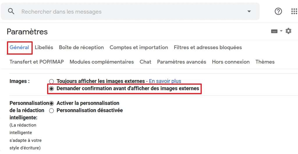 Activez l'option « Demander confirmation avant d'afficher des images externes ». © Google Inc.