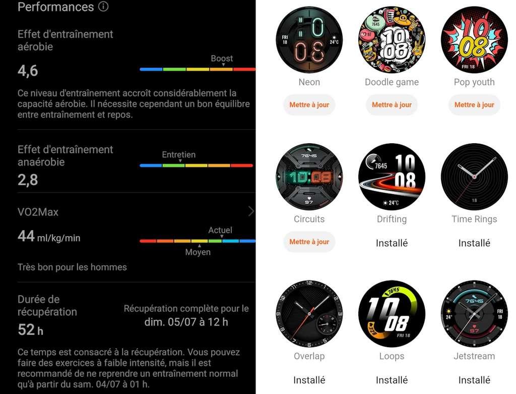 À gauche, l'indice de performance après une séance. À droite, quelques cadrans disponibles pour la personnalisation. © Futura
