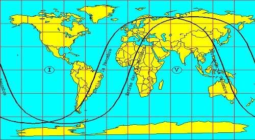 Zone de visibilité de l'éclipse pénombrale de Lune du 5 juin 2020.